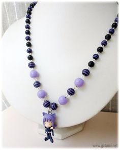 Cat Witch Blair Beaded Black and Purple Stripey Anime Necklace in Silver. $28.00, via Etsy.