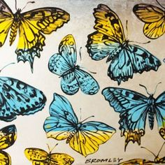 Butterflies Blue and Yellow by David Bromley