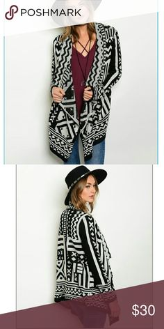 Comfort and Peace tribal cardigan. This black and white cardigan is a so stylish, yet so comfy. Only 1 medium left. Sweaters Cardigans