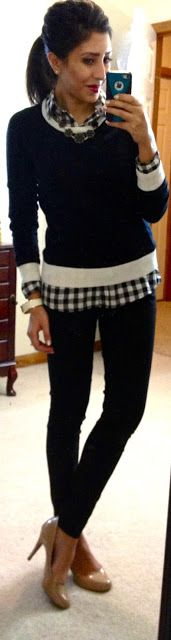 F21 gingham button-up, F21 sweater, The Limited Exact Stretch Skinny pants, Target Pearce pumps, F21 necklace & cuff