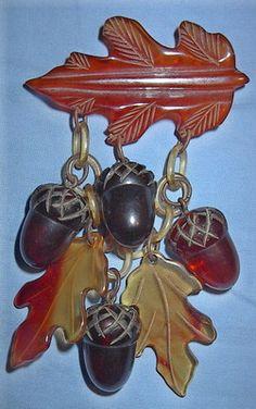 Vintage Amber Bakelite Figural Leaves Acorns Charms Pin Brooch Fall Autumn | eBay