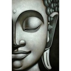 Amazon.com: Silver Buddha Hand-painted Gallery Wrapped Canvas Art: Home & Garden