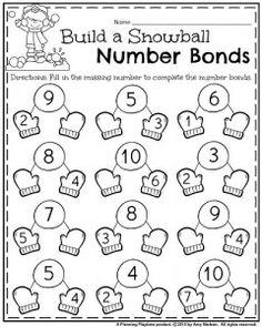 January Kindergarten number bonds addition worksheet.