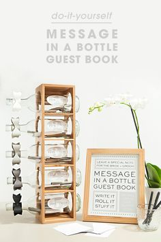 Awesome idea for a DIY message in a bottle, wedding guest book with FREE…