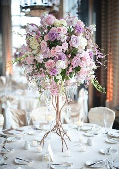 Tall floral reception centerpiece