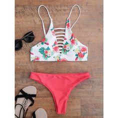 Floral Strappy Padded Bikini (22 BAM) ❤ liked on Polyvore featuring swimwear, bikinis, strap bikini, bikini swimwear, bikini two piece, floral print swimwear and padded swimwear