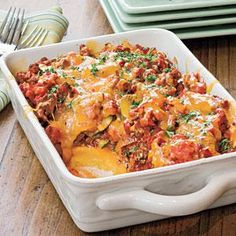 Tomato 'n' Beef Casserole With Polenta Crust | MyRecipes.com[has possibilities, but why not use grits?]