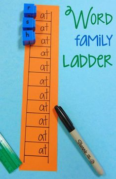 DIY Word Family Ladder Center Activity Classroom Hack There are SO many incredibly creative ways to learn and practice Word Families - this DIY Word Family Ladder is just another great classroom hack! Word Family Activities, Cvc Word Families, Teaching Phonics, Phonics Activities, Learning Activities, Indoor Activities, Summer Activities, Kindergarten Literacy Activities, Teaching Emotions