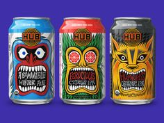 Check Out The Fun and Graphic Packaging For Hopworks Urban Brewery Beer Packaging, Beverage Packaging, Brand Packaging, Design Food, Design Design, Graphic Design, Craft Beer Labels, Wine Labels, Design Package