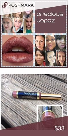 Lip Sense Precious Topaz (New) Lip Sense is a waterproof, smudge proof, and non transferring lip color that can last up to 18hrs if worn with the Lip Sense gloss. This tube is brand new and never opened. Lip Sense Makeup Lipstick