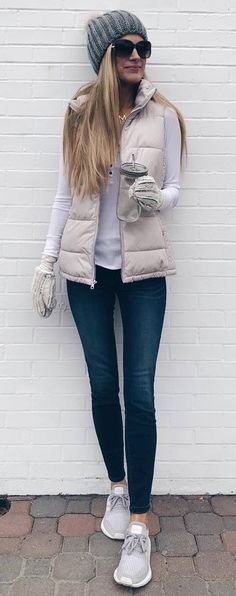 winter outfit idea_frey hat + top + blush vest + skinnies + sneakers