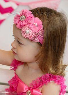 Color de rosa venda del bebé infantil diadema venda recién