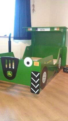 Tractor bed John Deere Room, Boy Room, Kids Room, Tractor Bed, Race Car Bed, Bed Ideas, Toy Boxes, Big Boys, Nursery Ideas