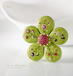 Bloom hand made polymer clay brooch in apple green colour. Made to order by Eva Thissen Gallery, via Flickr
