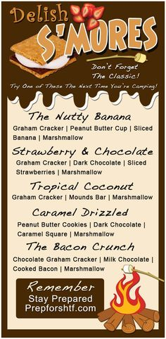 Delicious Camping Smores Recipes (Graphic) - Preparing for shtf - The Best of Diy Ideas Chocolate Slice, Chocolate Graham Crackers, Camping Bedarf, Camping Recipes, Camping Snacks, Glamping, Camping Dishes, Camping Kitchen, Camping Cooking