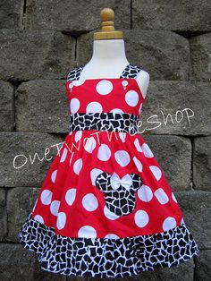Custom Boutique Clothing MInnie Mouse Jumper Dress. $35.00, via Etsy.