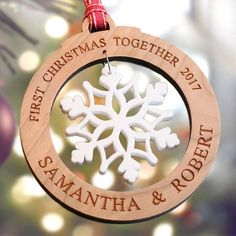 A stunning family keepsake bauble. Outer ring: Laser cut and engraved using thick clear acrylic or thick solid cherry wood Christmas Thoughts, Christmas Mood, A Christmas Story, Christmas Signs, First Christmas, Christmas Projects, Personalised Christmas Decorations, Wooden Christmas Ornaments, Xmas Decorations