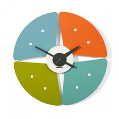 """""""Paddle"""" Model 7513 Wall Clock, Howard Miller Clock Company, 1957 ( vintage / mid century modern / colorful )"""