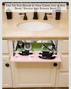 Bathroom idea - hide all the cords.  Great Idea add plug is drawer for shaver