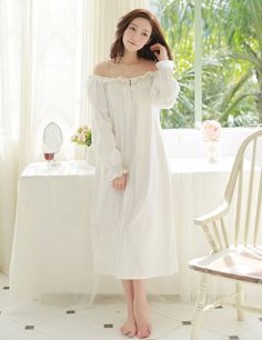 Beige White Pure French Style Palace Flounced Comfortable 100% Cotton Nightdress Ruffles Long Sleeve Princess Nightgowns S14006