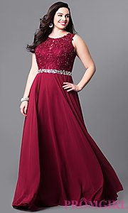 Image of plus-size long evening dress with lace bodice. Style: NA-8270P Front Image