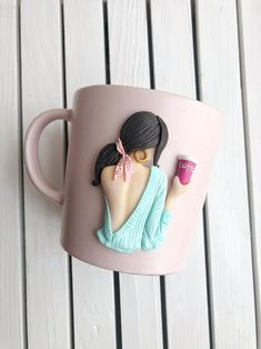 Polymerclay mug by Bujak Ksenia . Beautiful gift for coffee lover . Mug with decor . Best gift for fashion friend . Birthday gift for mom . Mother's Day gift . Polymer Clay Dolls, Polymer Clay Flowers, Polymer Clay Crafts, Diy Clay, Polymer Clay Jewelry, Unusual Presents, Clay Mugs, Doctor Gifts, Diy Gifts