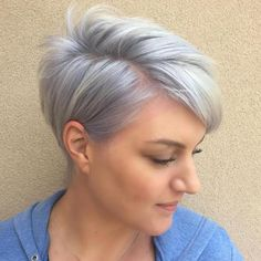 Pastel Purple Side Parted Pixie for fine thin hair Short Hairstyles Fine, Short Layered Haircuts, Haircuts For Fine Hair, Pixie Hairstyles, Short Hair Cuts, Short Hair Styles, Pixie Cuts, Medium Hairstyles, Short Pixie