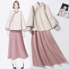 Costume hanfu Winter Women Chinese wind women Tang dress women suit two sets of improved cheongsam Coat tea shirt Modern Hijab Fashion, Ethnic Fashion, Kimono Fashion, Fashion Dresses, Stylish Dress Designs, Stylish Dresses, Elegant Dresses, Suits For Women, Women Wear