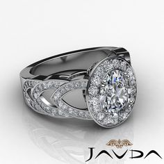 Oval Diamond Designer Engagement Halo Pave Set Ring GIA I VS2 Platinum 2 75ct | eBay