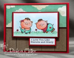 2 Cute Ink Digital Stamps Challenge Blog- cute card made by DT member Debra using Country Pig Couple Digital Stamp.
