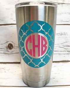 Vinyl Decal For Yeti Tumbler Colster Or Cooler MONOGRAM DECAL - Vinyl cup decals