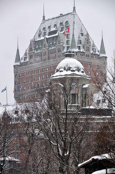 Snow in Le Château Frontenac, Quebec, Canada