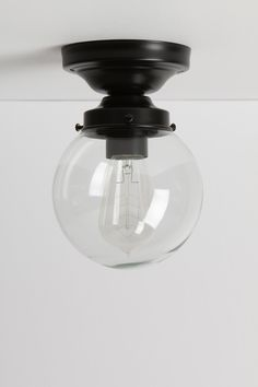 Clear Glass Globe Light - Black Base