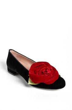 RED Valentino Velvet Rose Flat available at #Nordstrom