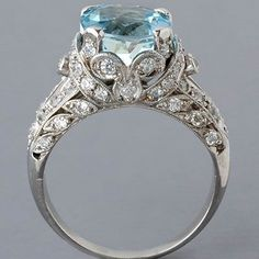 antique edwardian-style platinum aquamarine and diamond ring