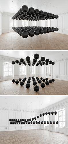 Black Balloons, Colossal Art, Installation Art, Mirrors, Cool Art, Contemporary Art, Mixed Media, Dance, Lights