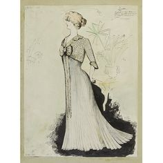 Fashion design - Manetta; Paquin. Tea gown of pale blue pleated Liberty satin with lace yoke. One of a group of 60 fashion designs bound in a volume of Paquin designs for Winter 1897. Most in pen and ink with touches of watercolour, some with names, details and fabric swatches attached.