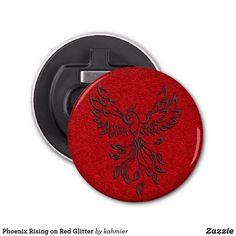 Phoenix Rising on Red Glitter Bottle Opener