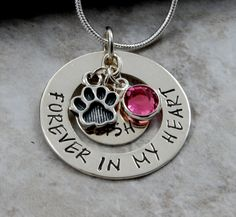 Forever in my Heart - Pet Memorial necklace pendant- Sterling Silver or Nickel Hand Stamped Personalized Paw Print Charm Cat Dog loss of pet on Etsy, $34.00