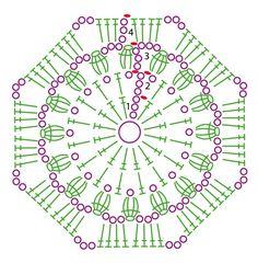 Bildergebnis für mandalas tejidos al crochet patrones Crochet Squares, Crochet Motifs, Crochet Blocks, Granny Square Crochet Pattern, Crochet Diagram, Crochet Chart, Crochet Granny, Crochet Patterns, Hexagon Pattern