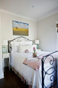 Good idea! Bedding is a soft cotton bedspread that was actually a PBTEEN bedskirt. It was used previously on an old daybed. The bedding doesn't go all the way to the floor, but that doesn't bother me at all.