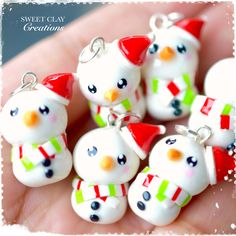 Snowman Kawaii Charm Pendant Necklace Polymer Clay Miniature Jewelry made by Sweet Clay Creations