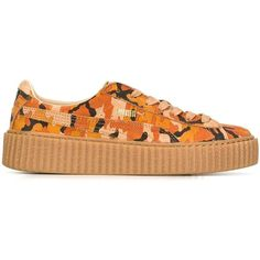 Puma Rihanna X PUMA Camouflage Creepers ($143) ❤ liked on Polyvore featuring shoes, multicolour, multicolor shoes, multi colored shoes, puma footwear, camo shoes and camouflage shoes