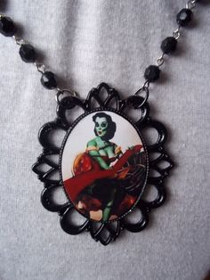 Zombie Pin up necklace rosary by Flamethrowerluv13 on Etsy
