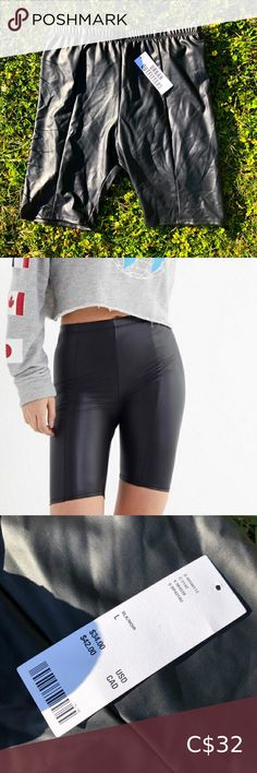 BNWT UO Black Faux Leather High-rise Biker Shorts 🖤 • Size Large • ORIGINALLY BOUGHT FOR $42 CAD ($34 USD) In excellent brand new condition Great staple piece! High waisted Urban Outfitters Shorts Bike Shorts White Biker Shorts, Space Socks, Pastel Jeans, Urban Outfitters Shorts, Lace Bustier, Staple Pieces, Black Faux Leather, Plus Fashion, Check