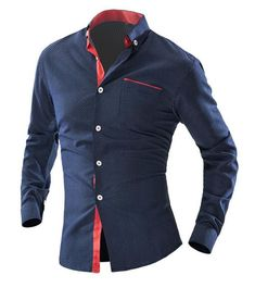 Long-Sleeve Men's Fashion Business Dress Shirt L-2XL 6 Colors #MensFashionBusiness