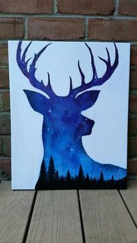 Night sky painting, acrylic painting, deer art, wildlife art, space painting, galaxy art, abstract art, original painting, stretched canvas