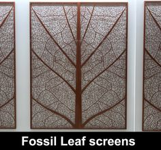 Fossil leaf laser cut wall screens for home and commercial interiors. Full description of Fossil Leaf wall screens installation for large commercial building in Hemel Hempstead UK.