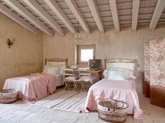 bedroom in an old farm house - very chic and not too shabby