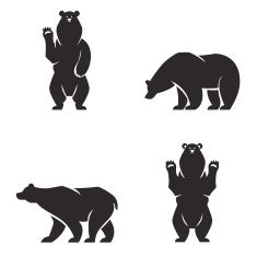 silhouettes of the bears vector set vector art illustration